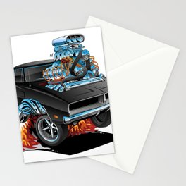 Classic 69 American Muscle Car Cartoon Stationery Cards