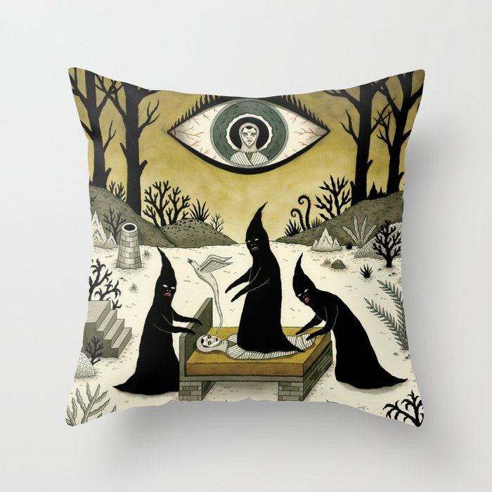 Three Shadow People Terrify a Victim During an Episode of Sleep Paralysis Throw Pillow