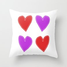 Red and Purple Hearts - 4 hearts Throw Pillow