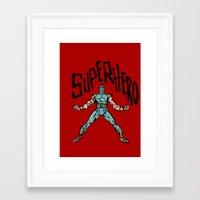 superhero Framed Art Prints featuring SuperHero by Logan_J