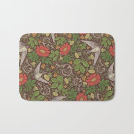 Swallows with dandelions and roses on brown background Bath Mat