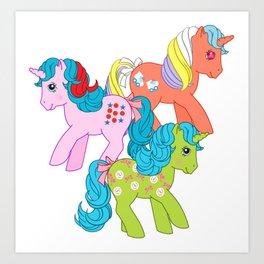 g1 my little pony unicorns Art Print