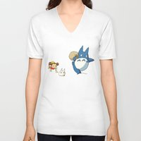 nausicaa V-neck T-shirts featuring となりのトトロ - Run by Studio Momo╰༼ ಠ益ಠ ༽