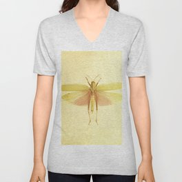 Vintage Inspired Pastel Yellow Salmon Butterfly Unisex V-Neck