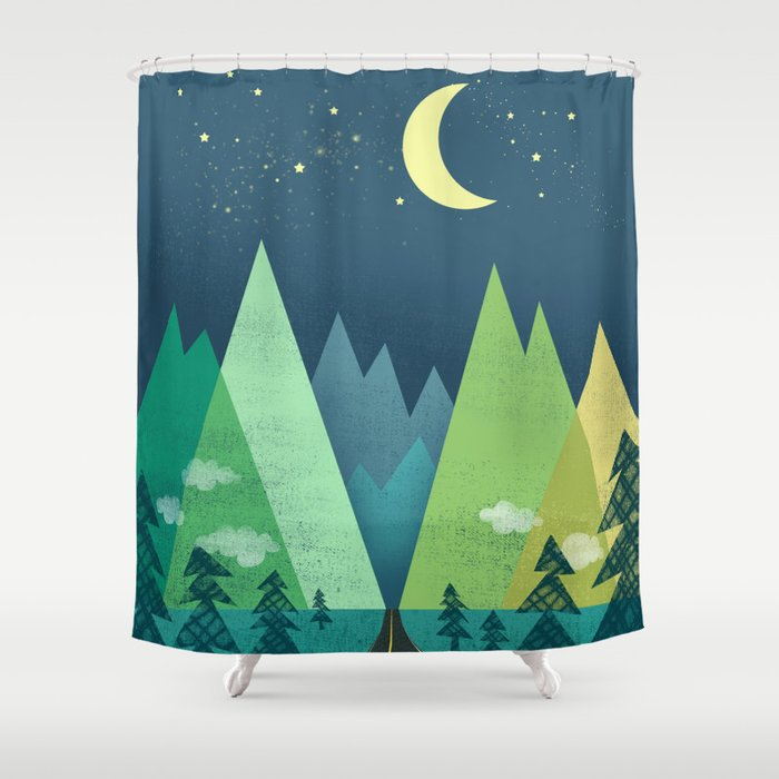 The Long Road at Night Shower Curtain by jennytiffany | Society6