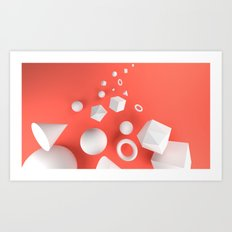 Red Shapes Art Print