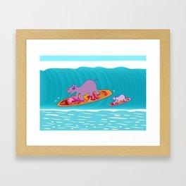 Just Like Momma - Hippos Surfing Framed Art Print