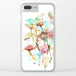 Queen Anne Lace Wild Flower Print Clear iPhone Case