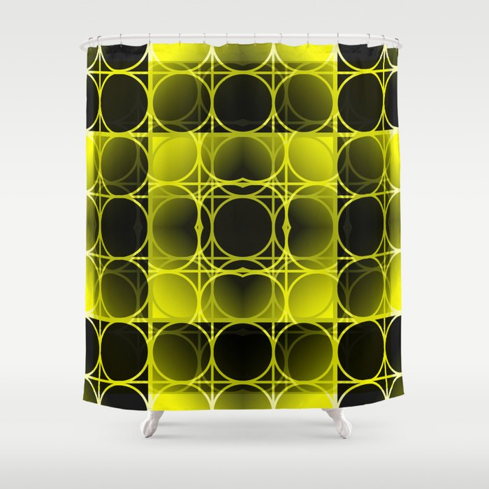 Circles, Grids and Shadows in Black and Yellow Shower Curtain