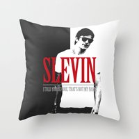 scarface Throw Pillows featuring Lucky Scarface Slevin. by Agu Luque