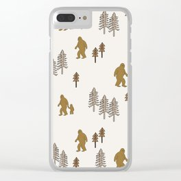 Sasquatch forest woodland mythic animal nature pattern cute kids design forest Clear iPhone Case