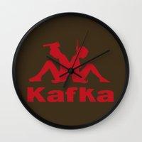 kafka Wall Clocks featuring Kafka by le.duc