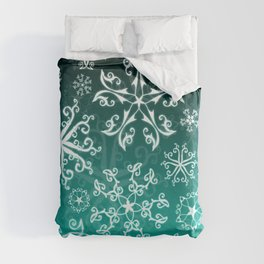 Symbols in Snowflakes on Winter Green Duvet Cover