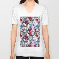 floral pattern V-neck T-shirts featuring Floral Pattern by Eduardo Doreni