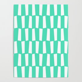 Menthol green and white abstract shapes pattern Poster
