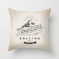 mountains Throw Pillows featuring Mountains by Seaside Spirit