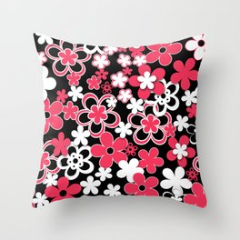 Red and white paper flowers 3 Throw Pillow