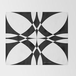Abstract Circles - Black & White Throw Blanket