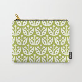 Mid Century Modern Flower Pattern 733 Olive Green Carry-All Pouch