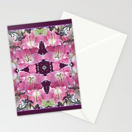 PINK SPRING LILY FLOWERS PURPLE GARDEN Stationery Cards
