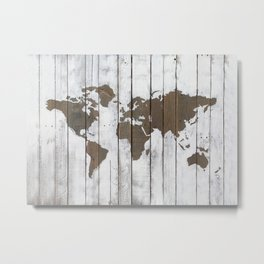 Rustic World Map Art on Upcycled Palette Wood Metal Print