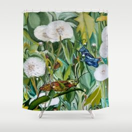 Grasshoppers and Dandelions (Oil Painting) Shower Curtain