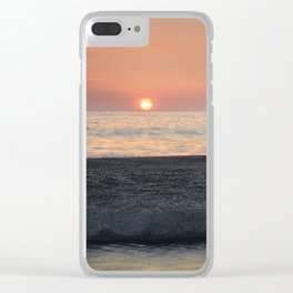 Last Minute At The Beach. At Sunset Clear iPhone Case