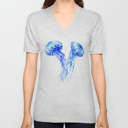 JellyFish, Blue Aquatic Artwork Unisex V-Neck