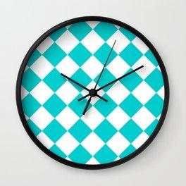Large Diamonds - White and Cyan Wall Clock