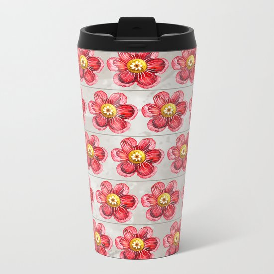 Red on Brown Metal Travel Mug