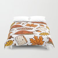thanksgiving Duvet Covers featuring thanksgiving by Ceren Aksu Dikenci