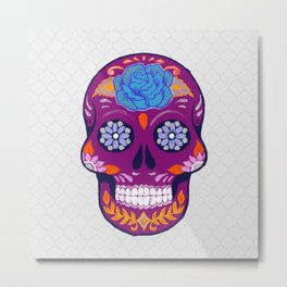 Mexican Skull Art in Purple and Blue Metal Print