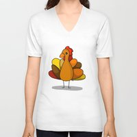 thanksgiving V-neck T-shirts featuring Turk-Tacular Thanksgiving Turkey by Veronica Nagorny