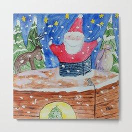 Don't Get Stuck, Santa! Metal Print