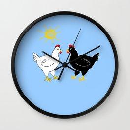 Hens and Sun Wall Clock
