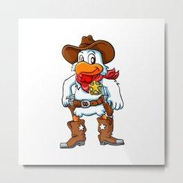 happy cowboy chicken. Metal Print