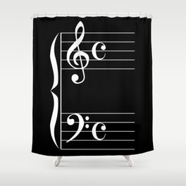Bass And Treble Clef  Background Shower Curtain