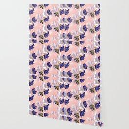 Soft, delicate, feminine blue floral on a pink base Wallpaper