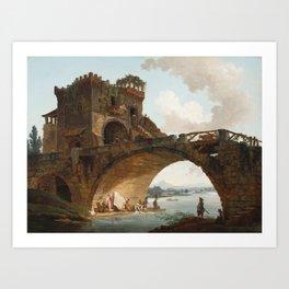 The Ponte Salario Oil painting by Hubert Robert Art Print
