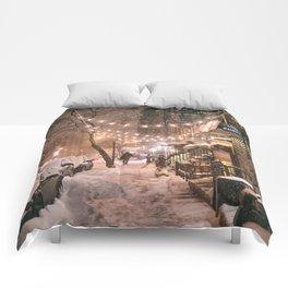 Snow - New York City - East Village Comforters