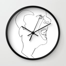 Continuous line drawing face #1 minimalist graphic Wall Clock