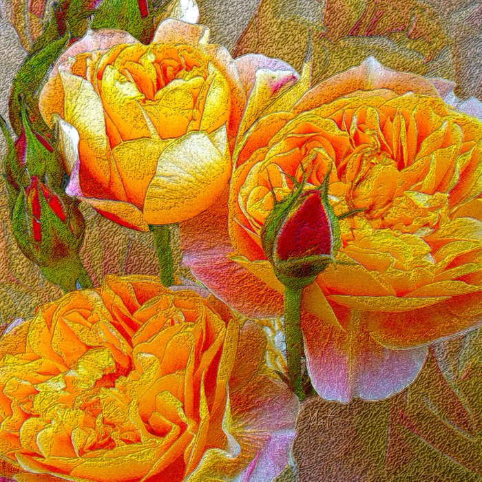 Heirloom Impressionist Yellow Roses and Buds Comforters