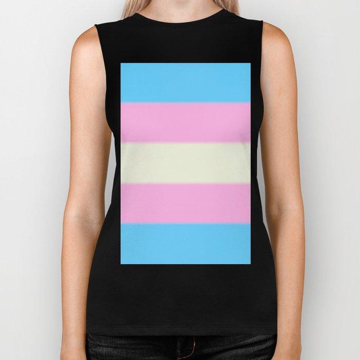 Transgender Pride Flag v2 Biker Tank