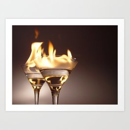 Flaming Aperitifs - Alcoholic Cocktails color photograph / photography by Nik Frey Art Print
