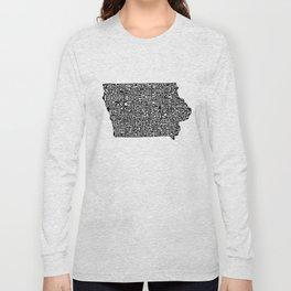 Typographic Iowa Long Sleeve T-shirt
