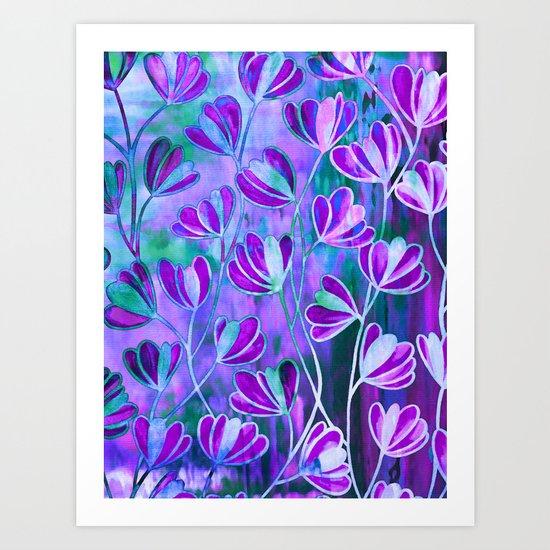 EFFLORESCENCE Lavender Purple Blue Colorful Floral Watercolor Painting Summer Garden Flowers Pattern Art Print