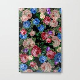 Floral pattern, blue roses,lisianthus.Black background  Metal Print