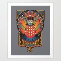 dalek Art Prints featuring Dalek Nouveau by Mareve Design