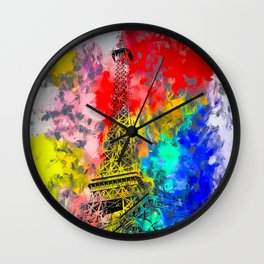 Eiffel Tower at Paris hotel and casino, Las Vegas, USA,with red blue yellow painting abstract backgr Wall Clock