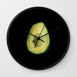 Empty Avocado Oil Pastel Painting by Brooke Figer Wall Clock
